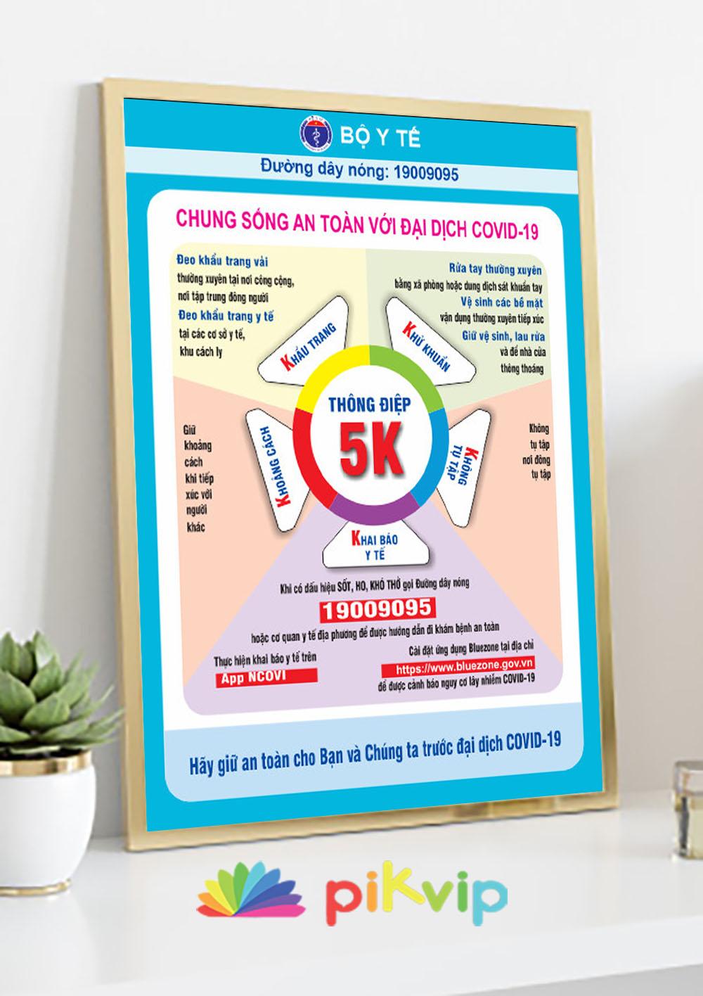 Mẫu poster covid 19 thông điệp 5k