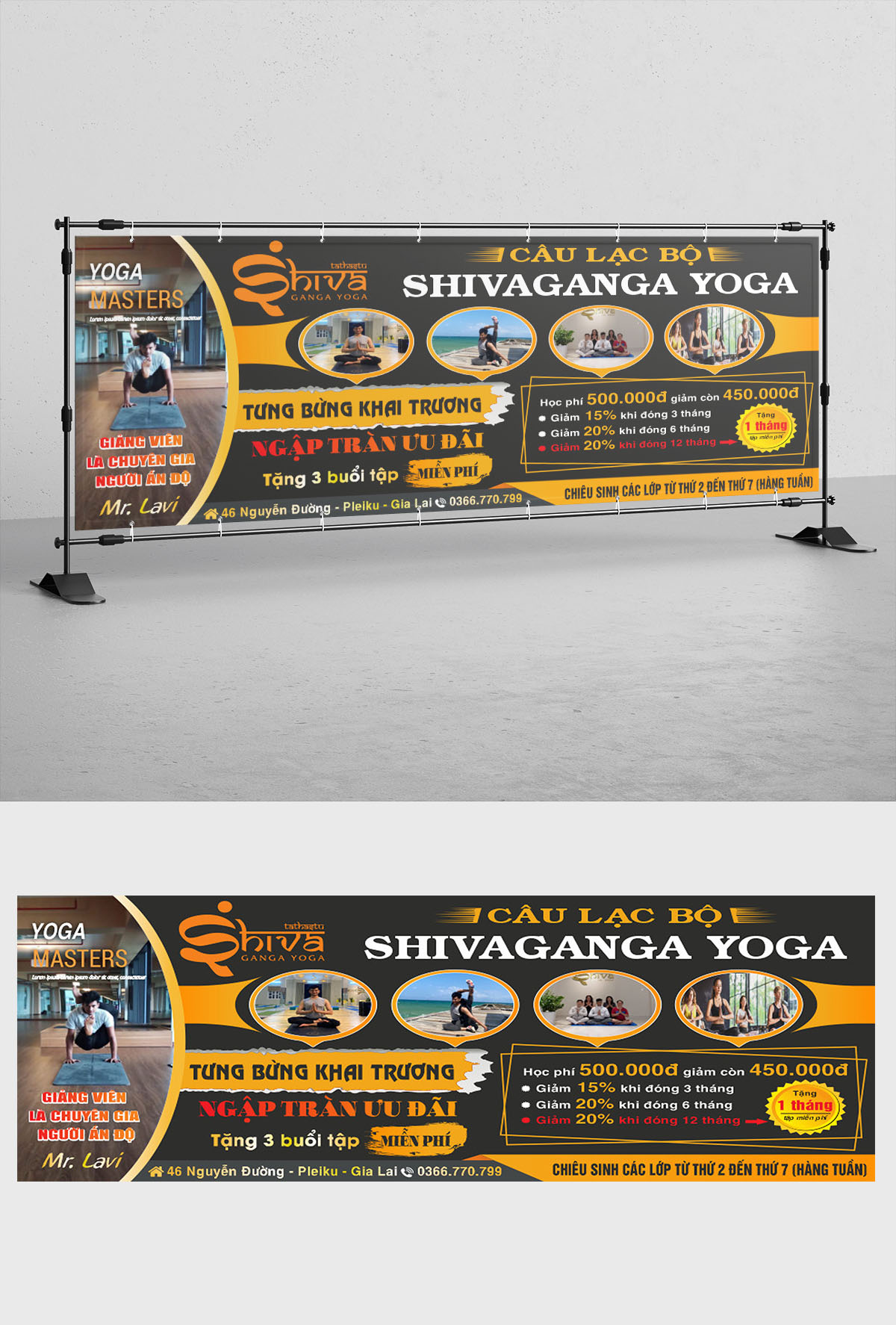 Mẫu banner khai trương câu lạc bộ yoga