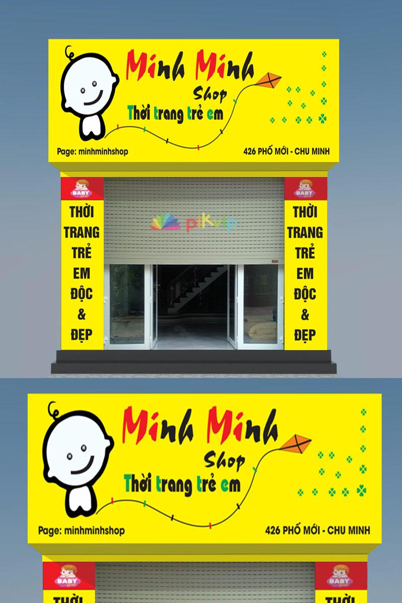 Mẫu biển quảng cáo shop thời trang trẻ em