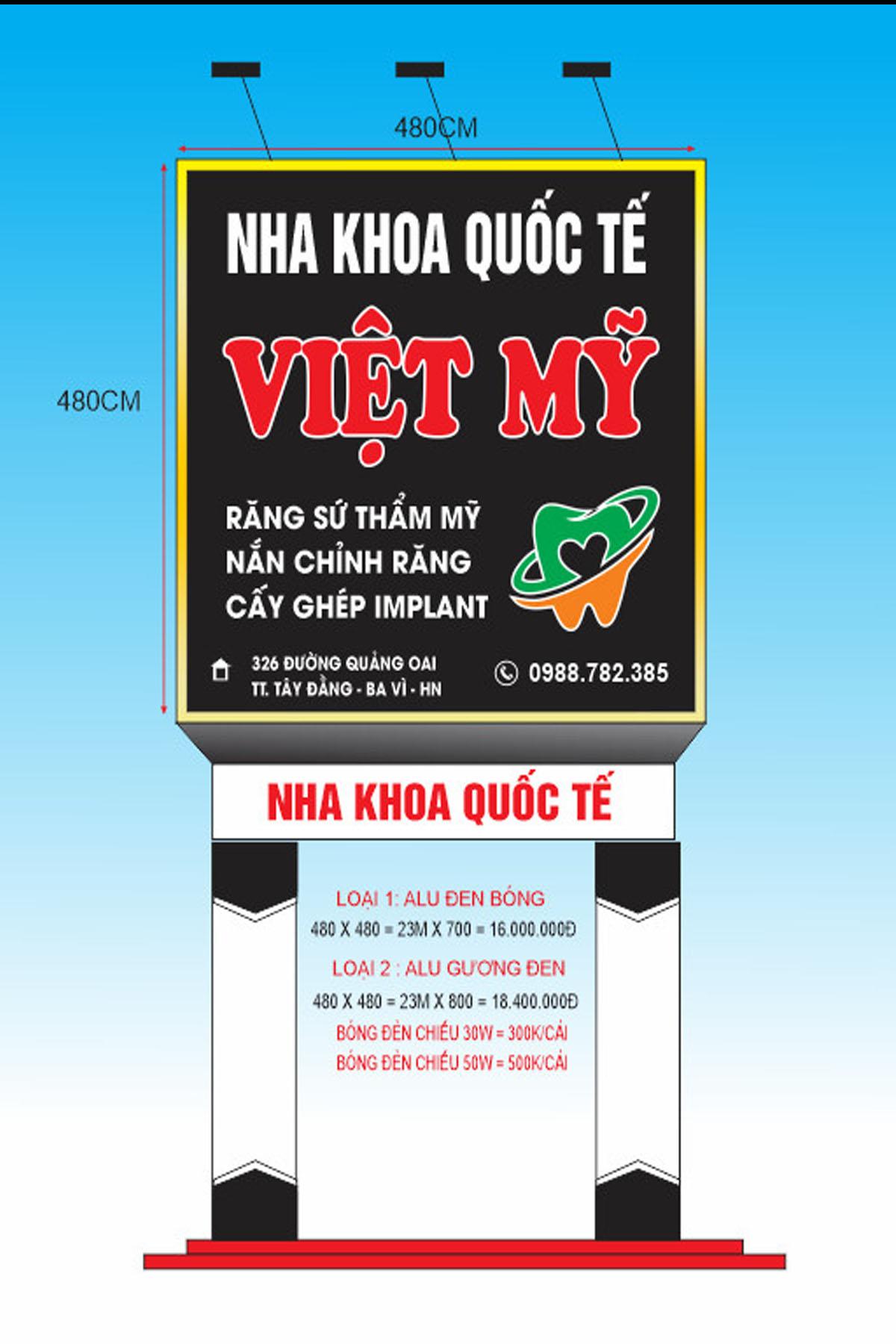Mẫu biển bảng quảng cáo nha khoa