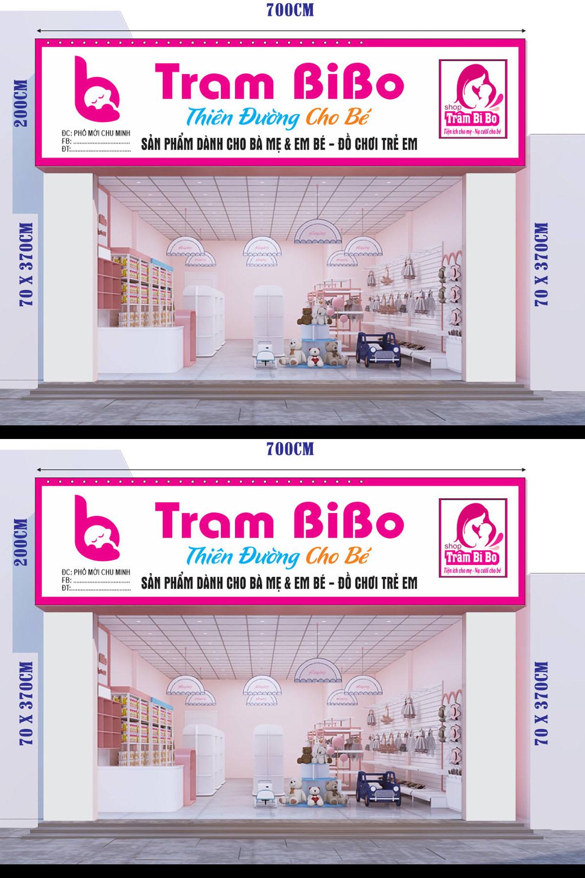 Mẫu biển quảng cáo shop trẻ rm
