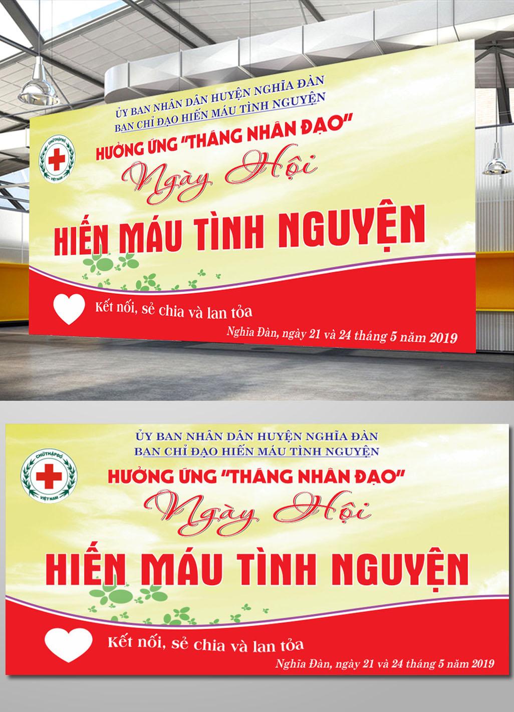 Pano hiến máu tình nguyện file corel