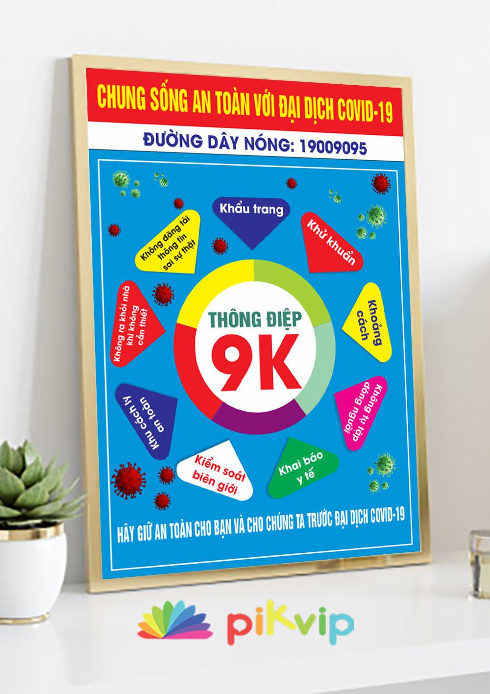 Mẫu poster covid 19 thông điệp 9k