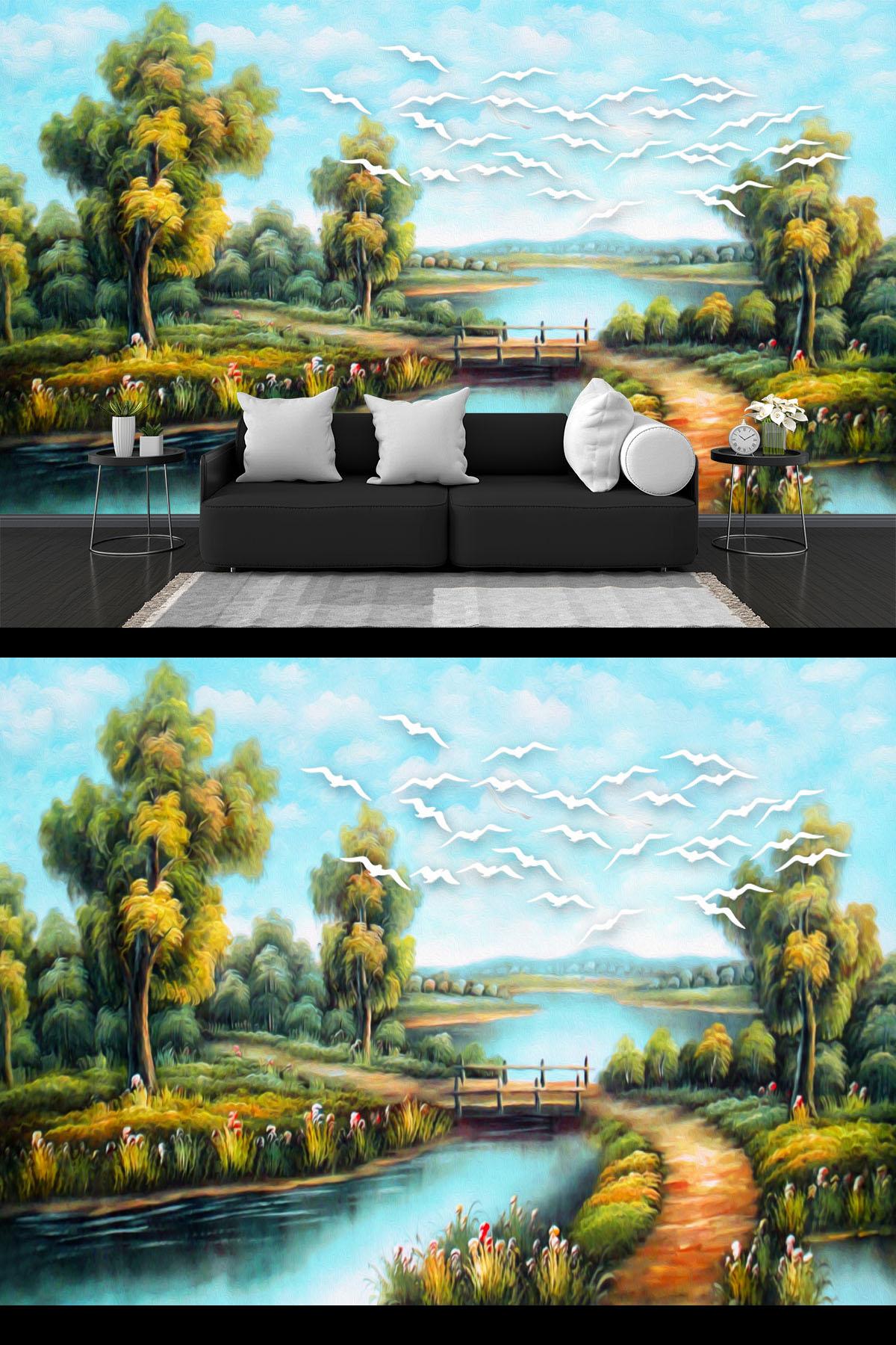 Mẫu tranh tường sơn thuỷ
